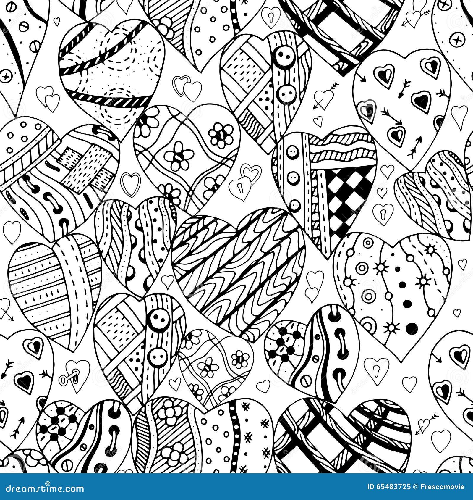 Patroon van zwart wit harten vector illustratie afbeelding 65483725 - Deco slaapkamer ontwerp volwassen ...