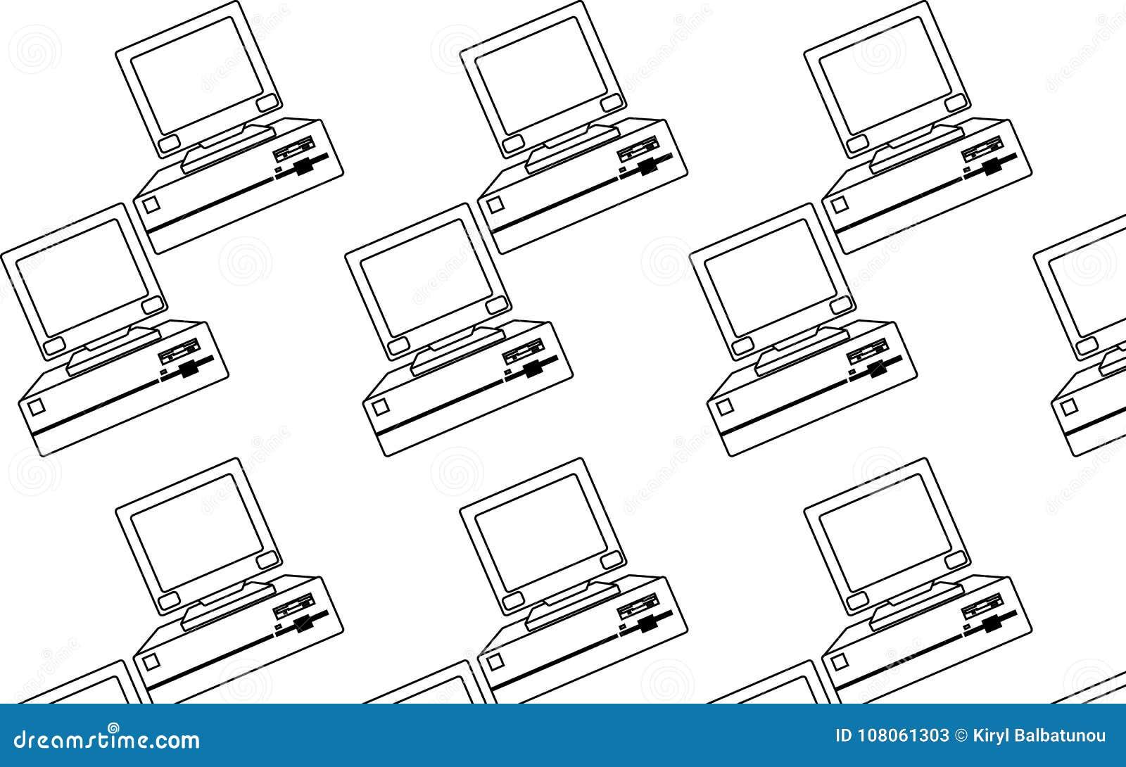 Patroon van zwart-wit, oud, uitstekend, retro, hipster computers met convexe monitors en floppy