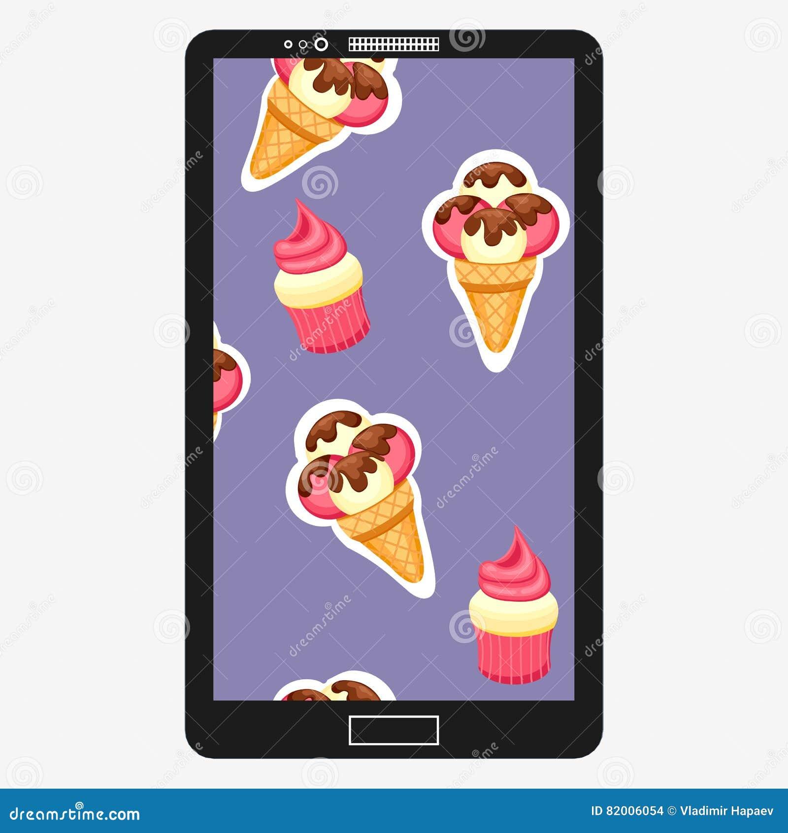 Patroonroomijs en de vectorillustratie van Cupcake Achtergrond van textuuraardbei en het dessert van het vanilleroomijs en