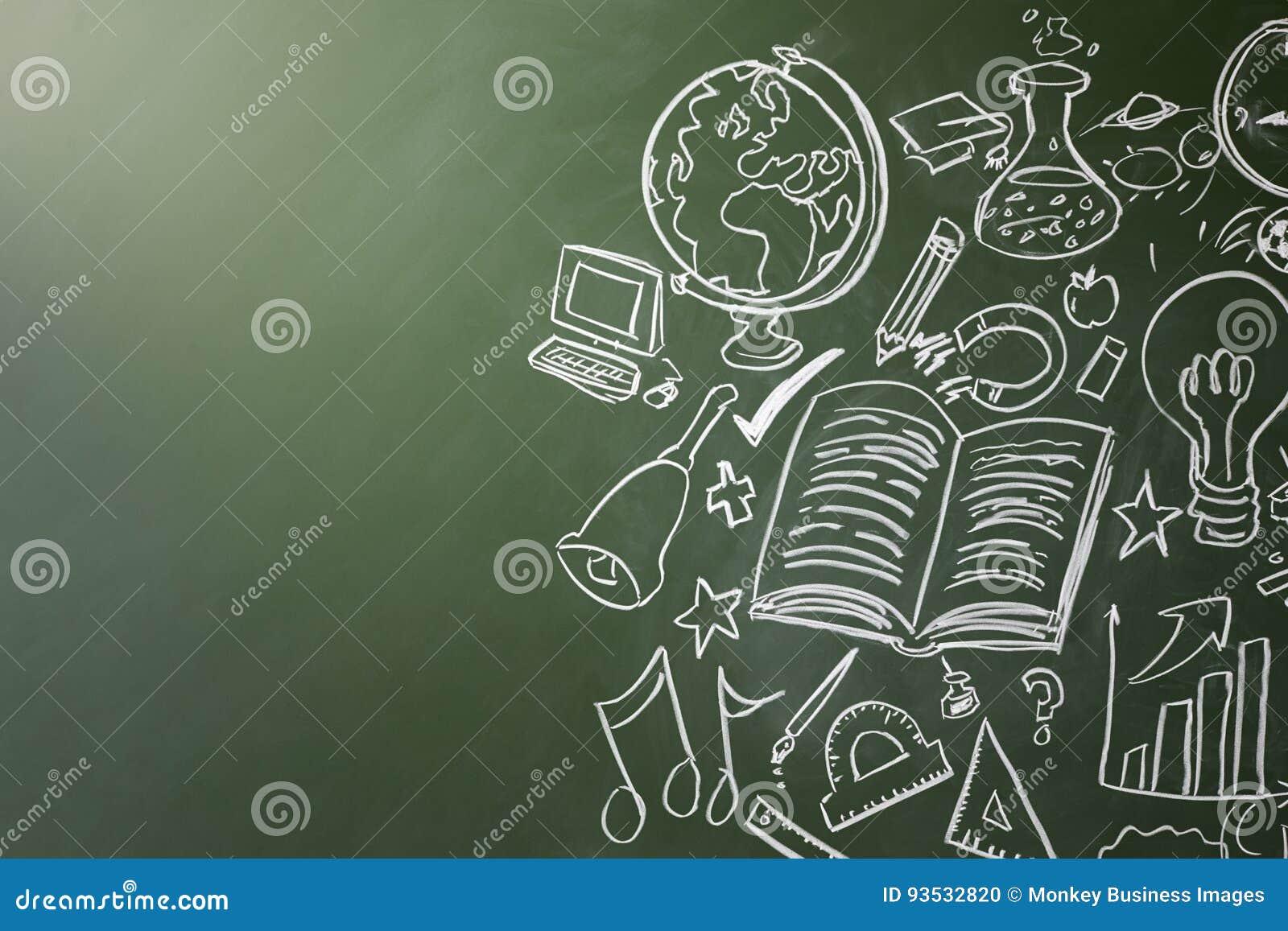 Patroszeni symbole szkolni tematy na chalkboard, kopii przestrzeń