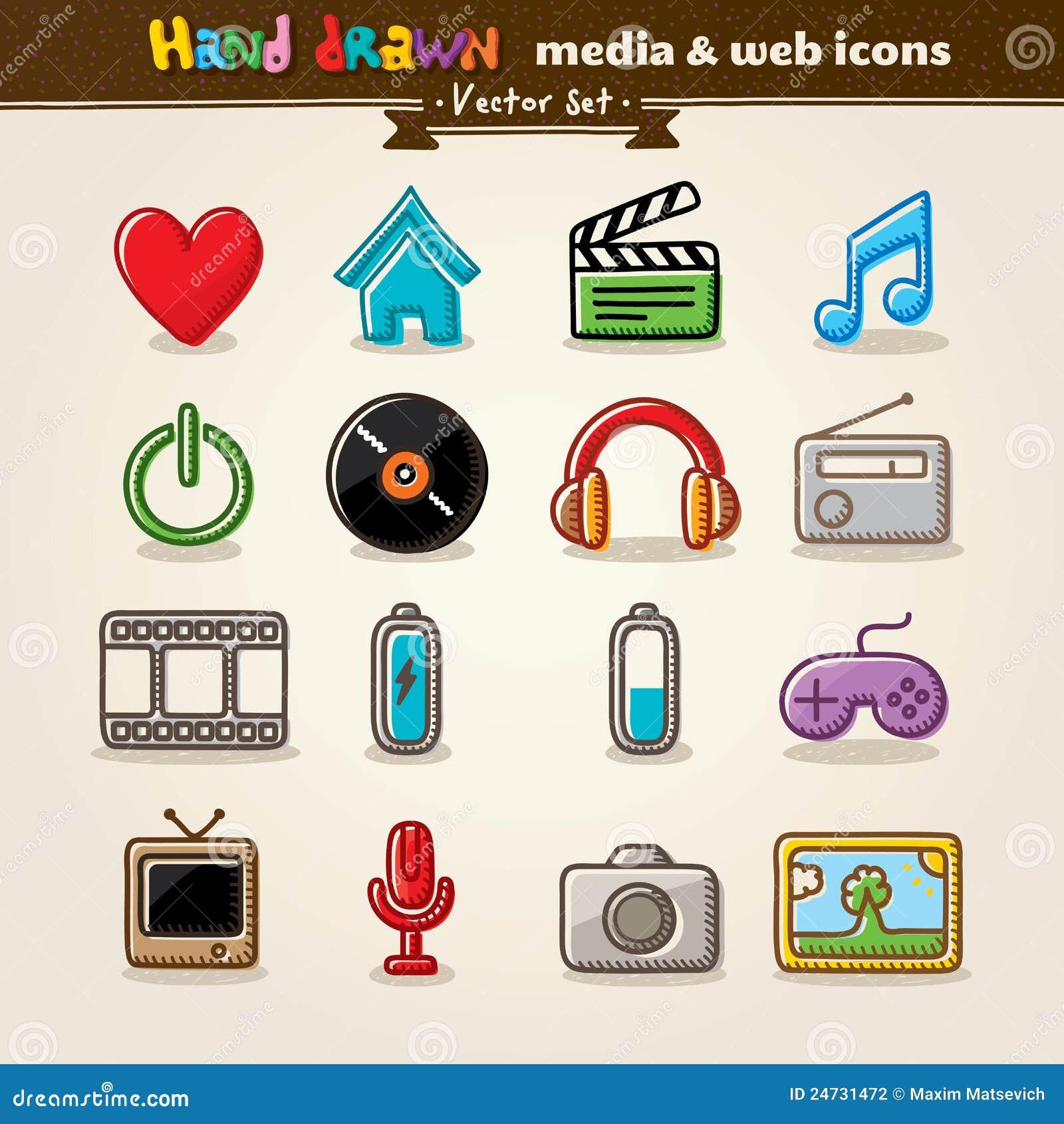 Patroszona rozrywki ręki ikon środków sieć