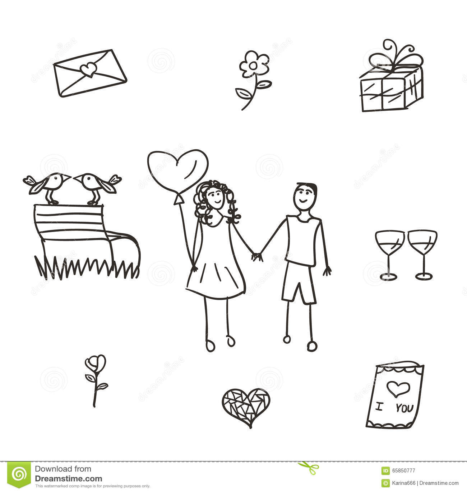 Patroszonego ręki ilustracj dziewięć setu stylowy valentine wektor