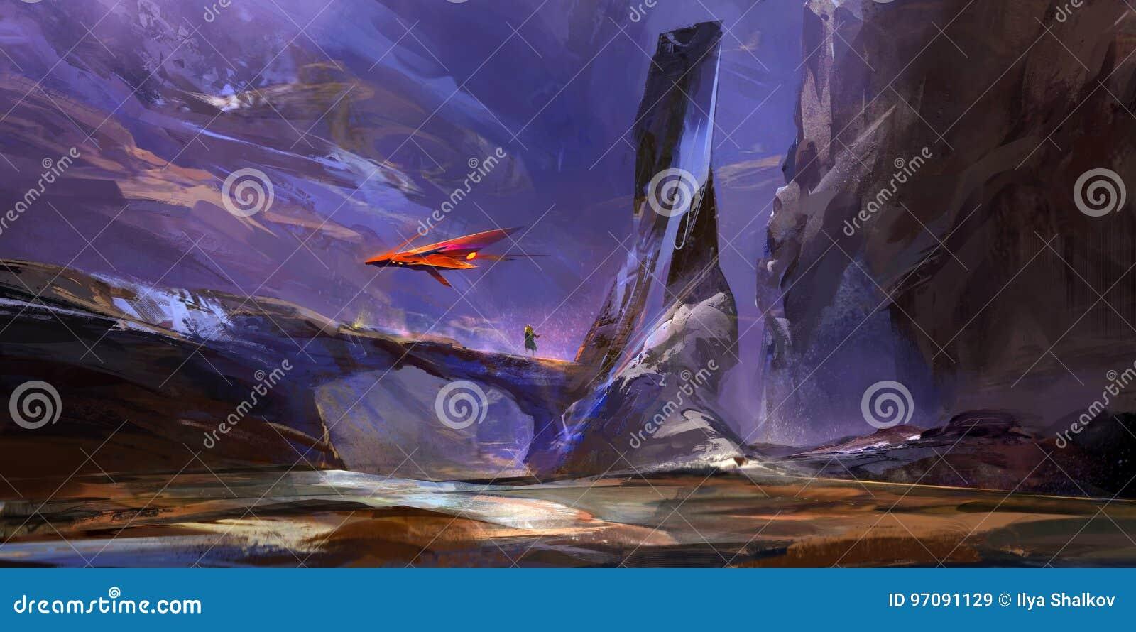 Patroszony fantastyczny góra krajobraz przyszłość