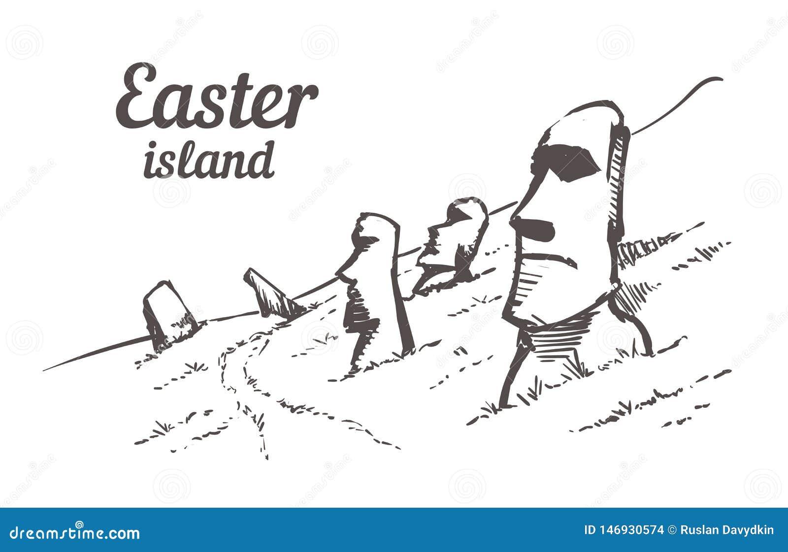 Patroszony nakreślenie Moais w Rapa Nui parku narodowym na skłonach Rana Raruku wulkan na Wielkanocnej wyspie