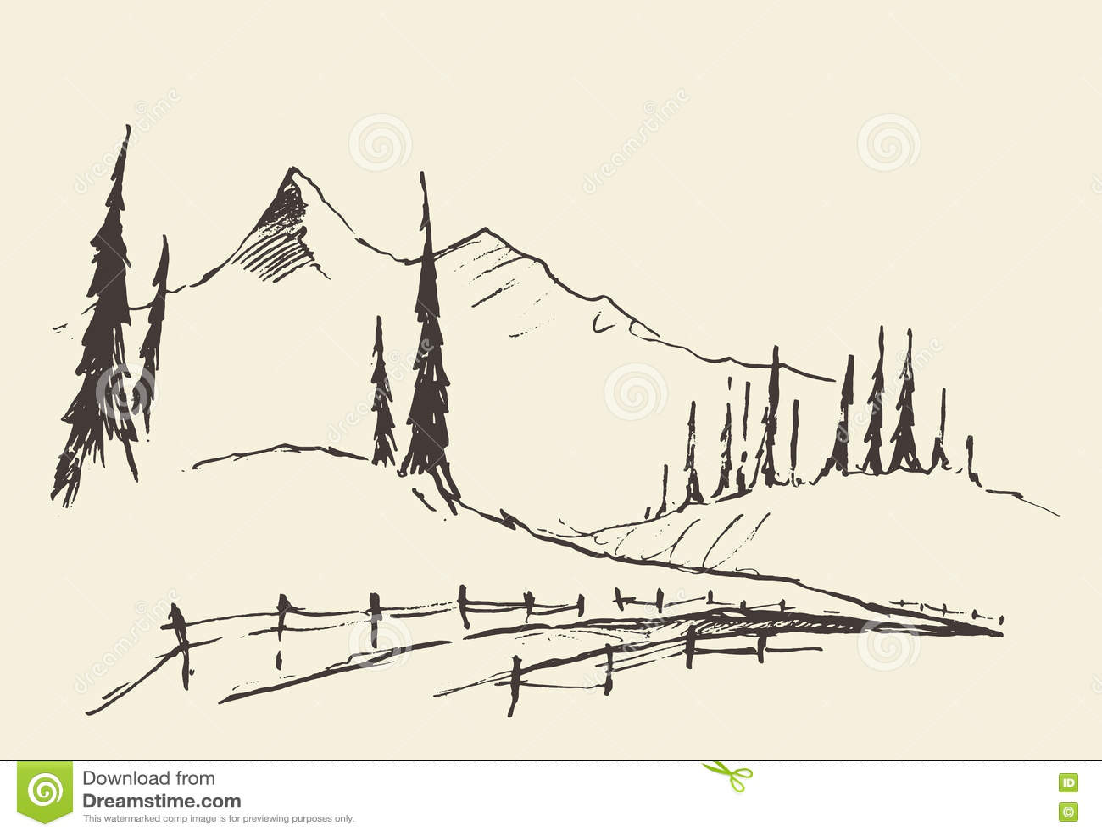 Patroszonych krajobrazowych wzgórzy wiejski drogowy wektorowy nakreślenie