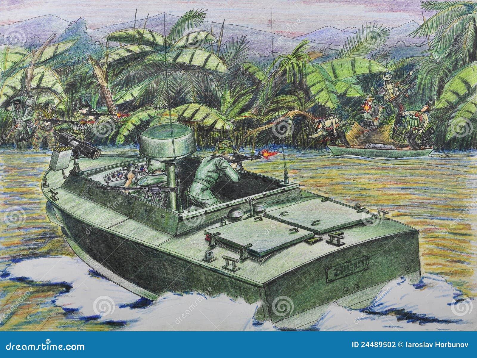 Patrulla americana en combate con el guer vietnamita