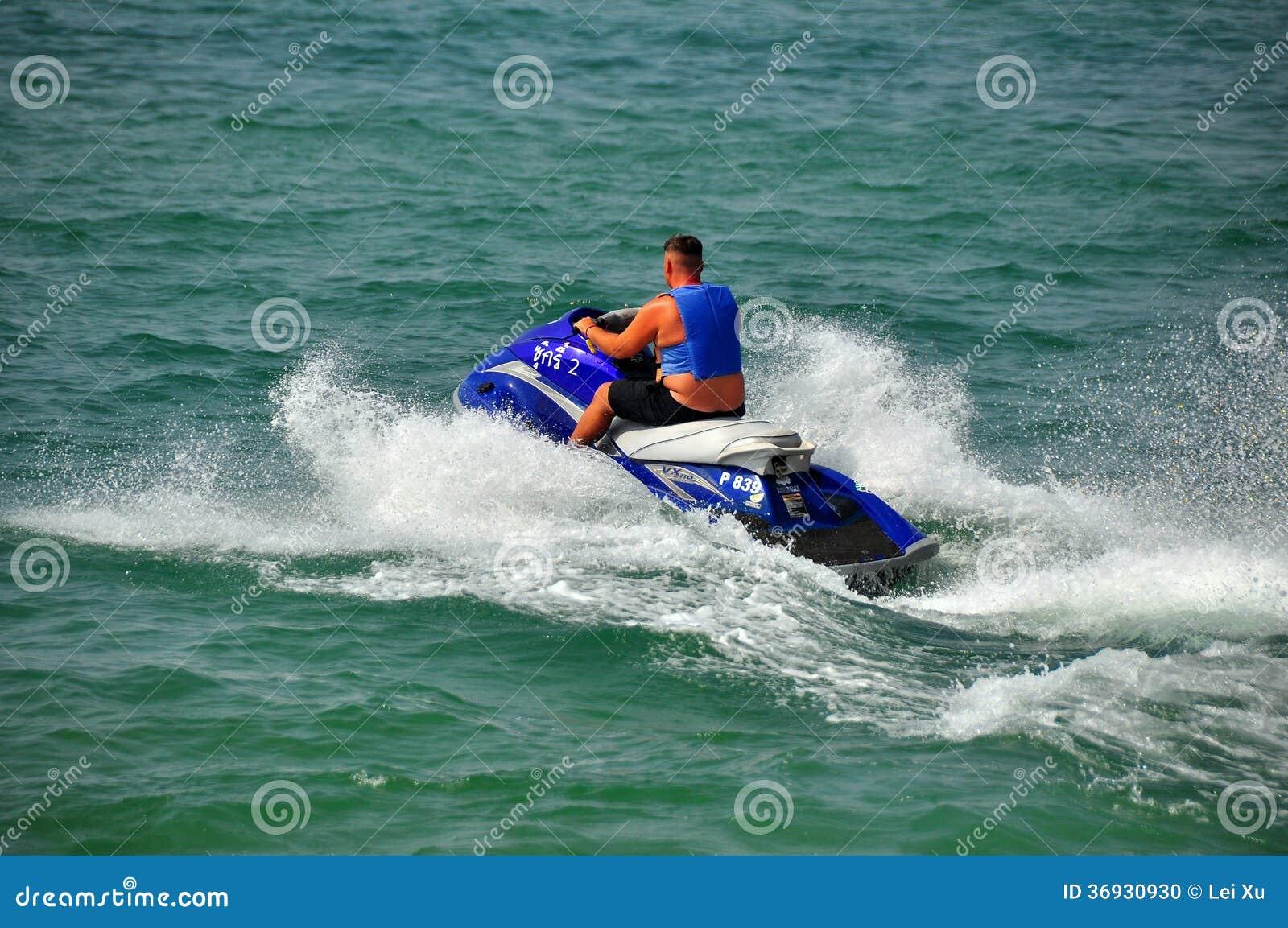 Pattaya, Thailand: Man On A Jet Ski Boat Editorial Image ...
