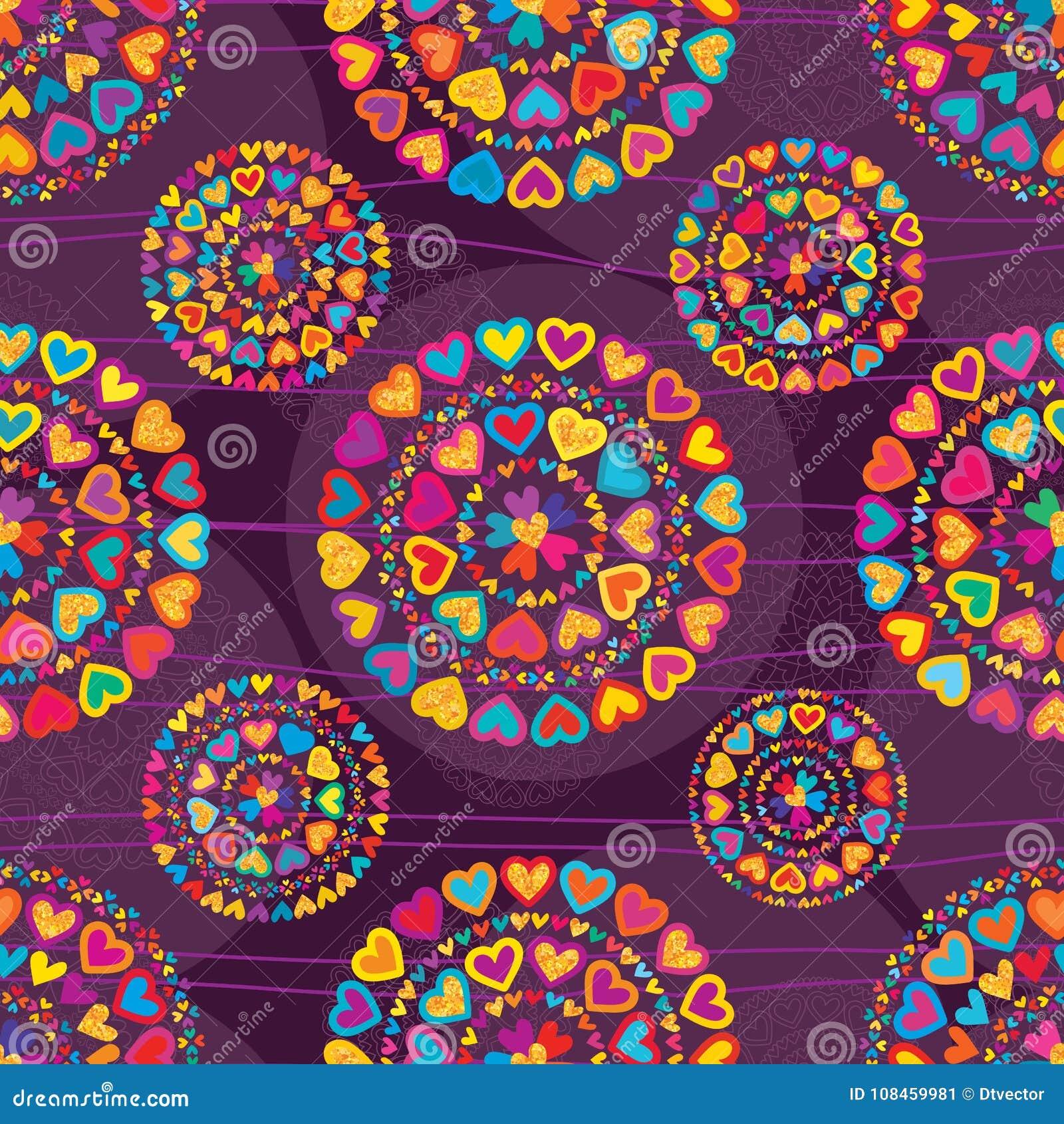 Patterm inconsútil púrpura de la simetría colorida del brillo del amor