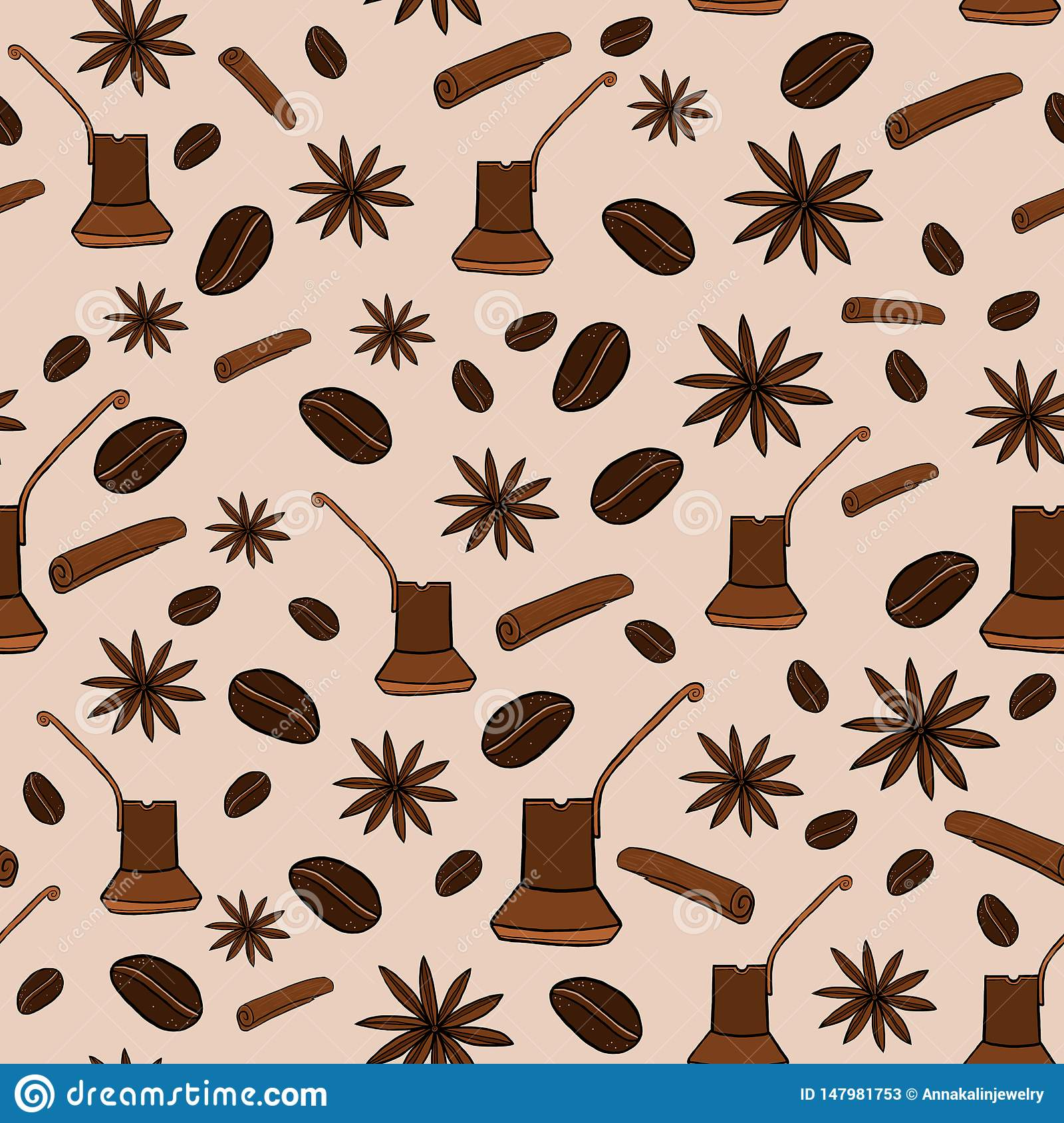 Seamless pattern with coffee and spices
