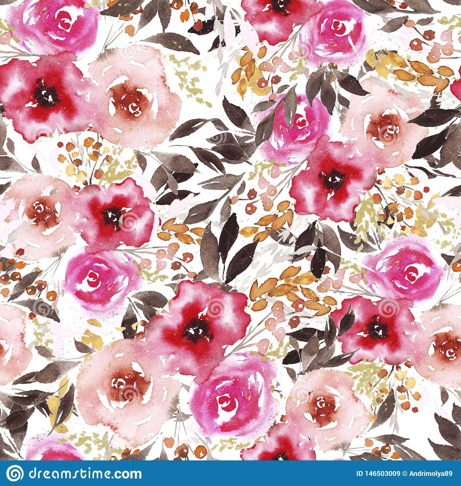 Pattern with abstract watercolor pink and red flowers