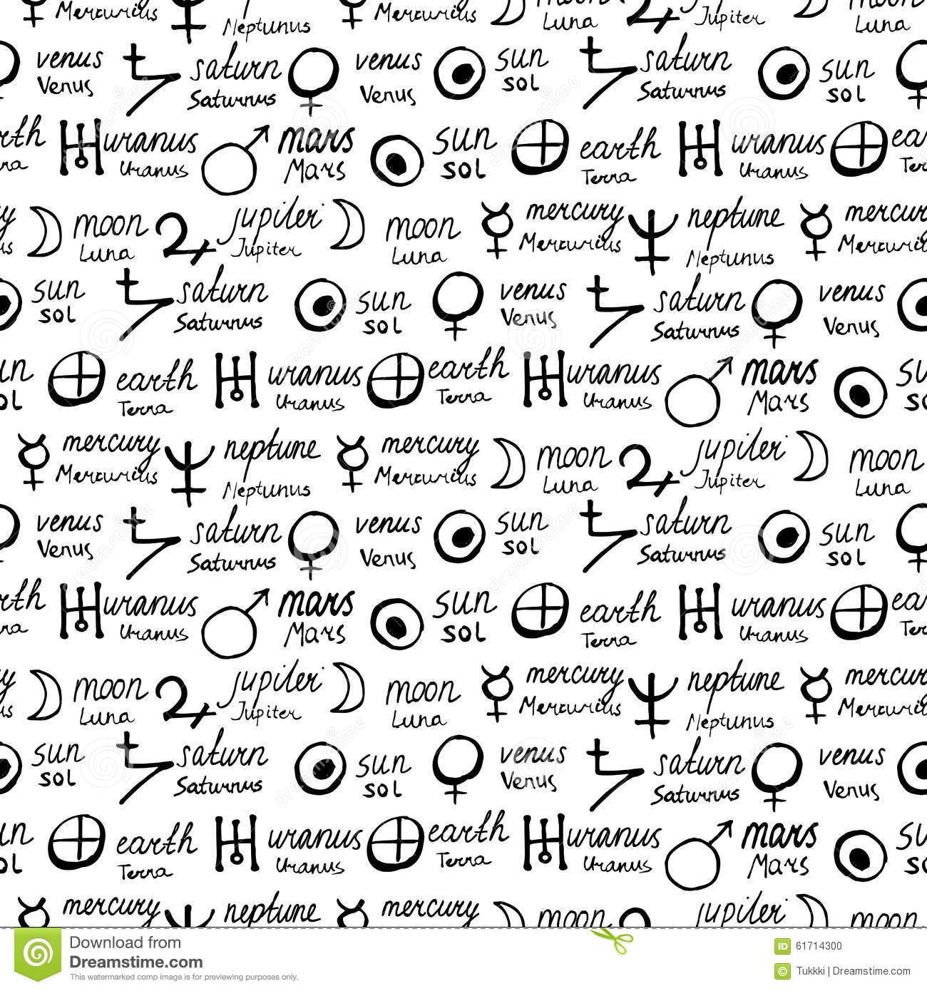 Pattern With Alchemy Symbols Stock Vector Illustration Of