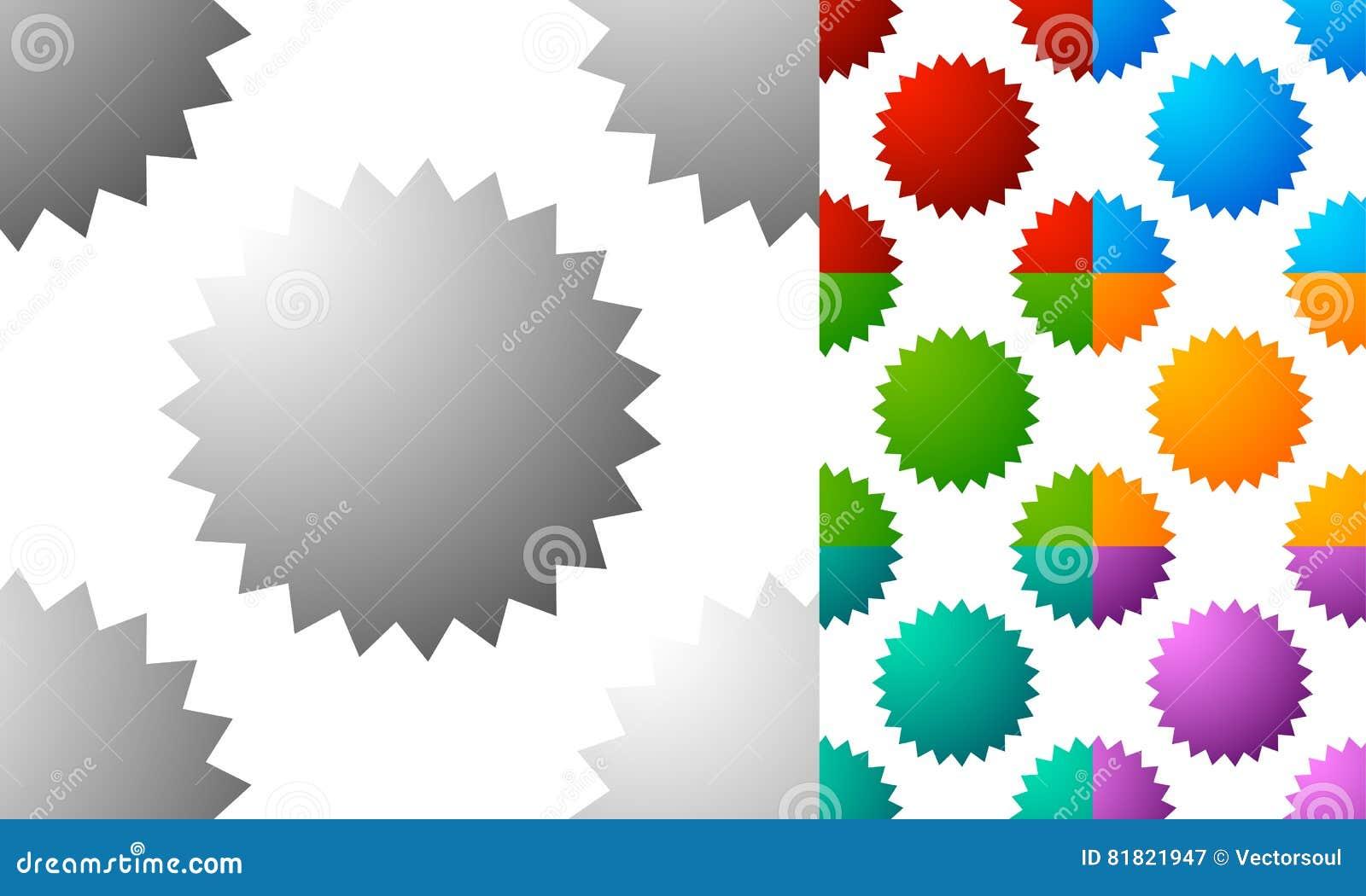 Pattern / Background Set With Badge, Starburst-like Shapes  Set