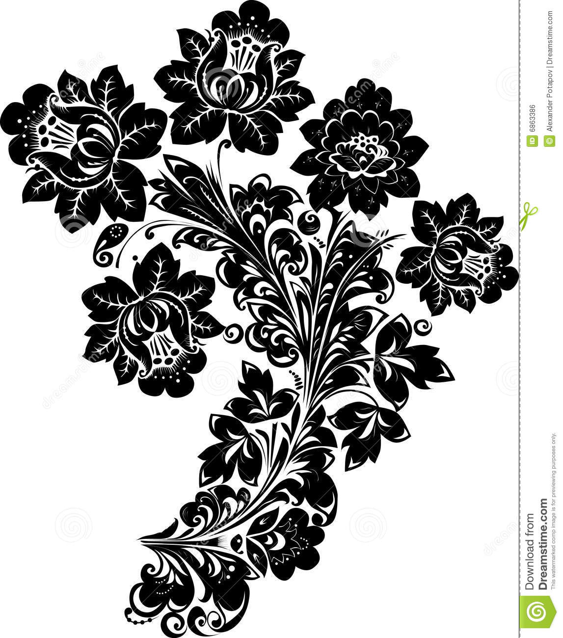 Black Flower And Bud Pattern Royalty Free Stock Photos: Pattern With Black Flowers On White Stock Illustration