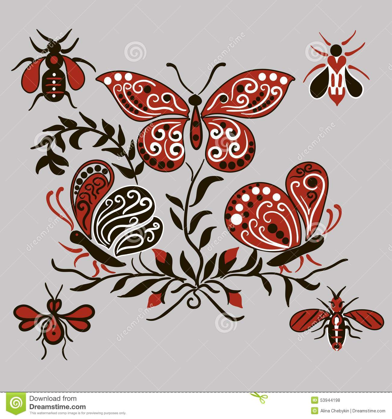 pattern with black and red butterflies stock vector