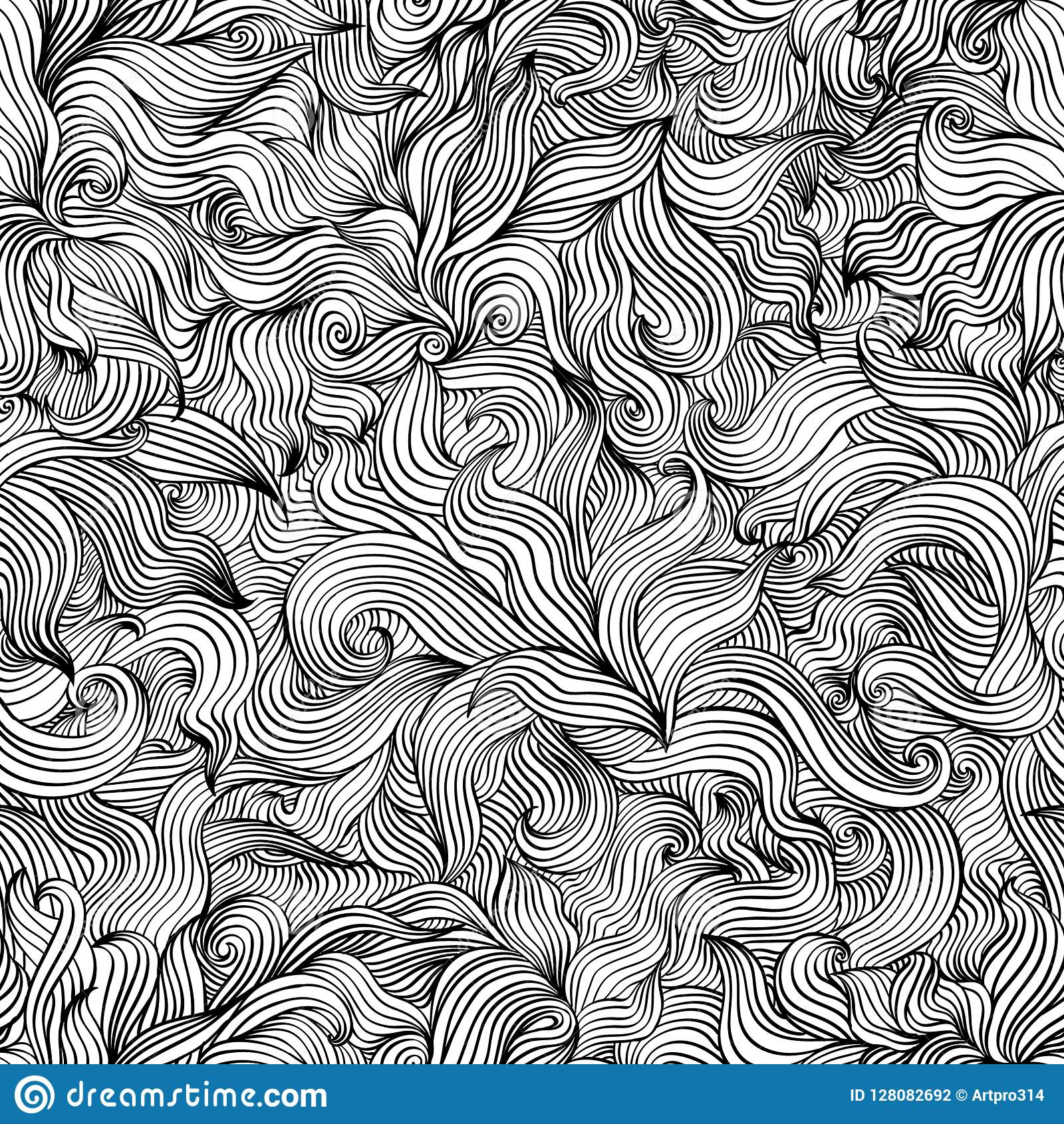 Pattern of black and white Leaves decoration illustration from wave