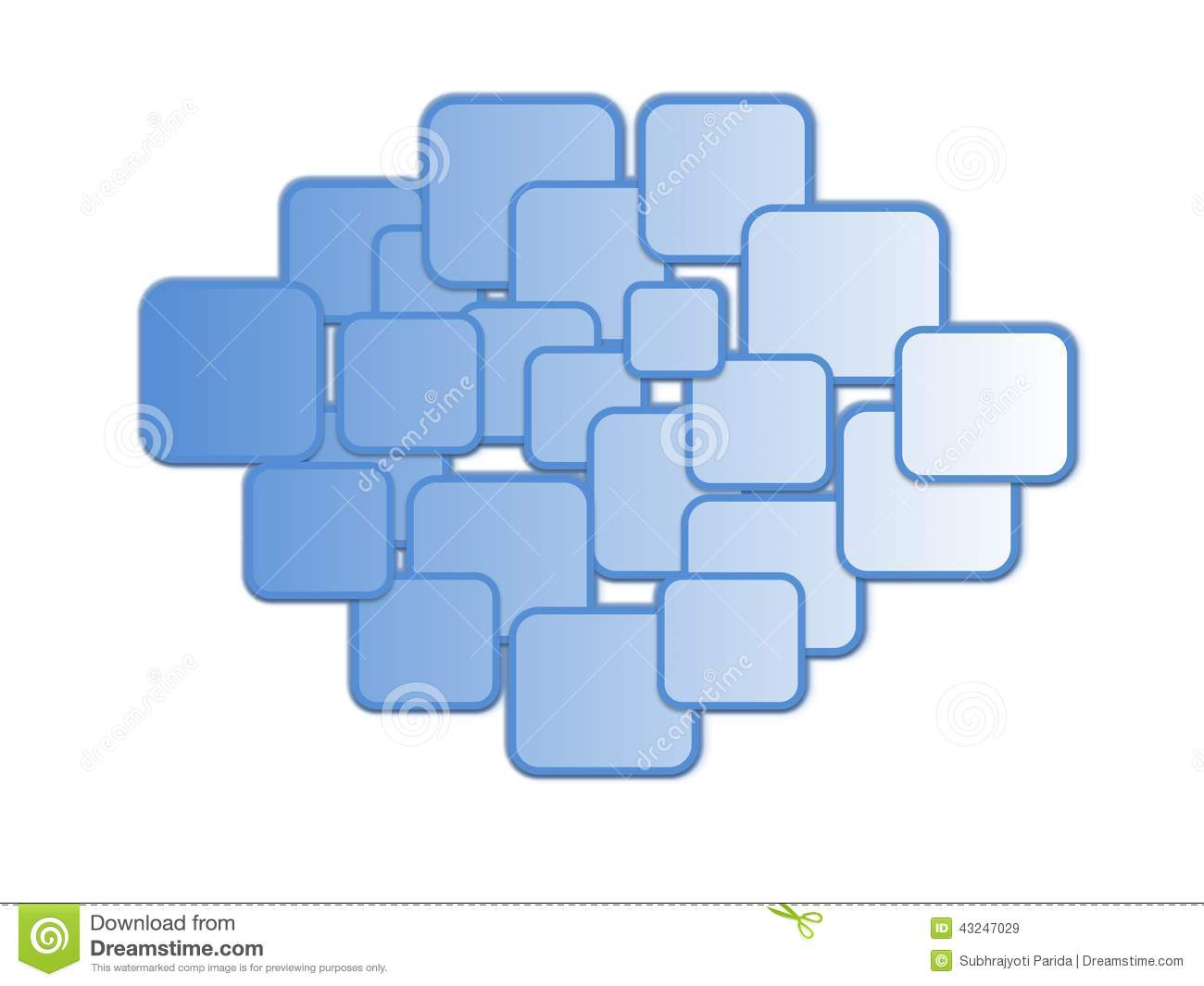A pattern of blue coloured boxes