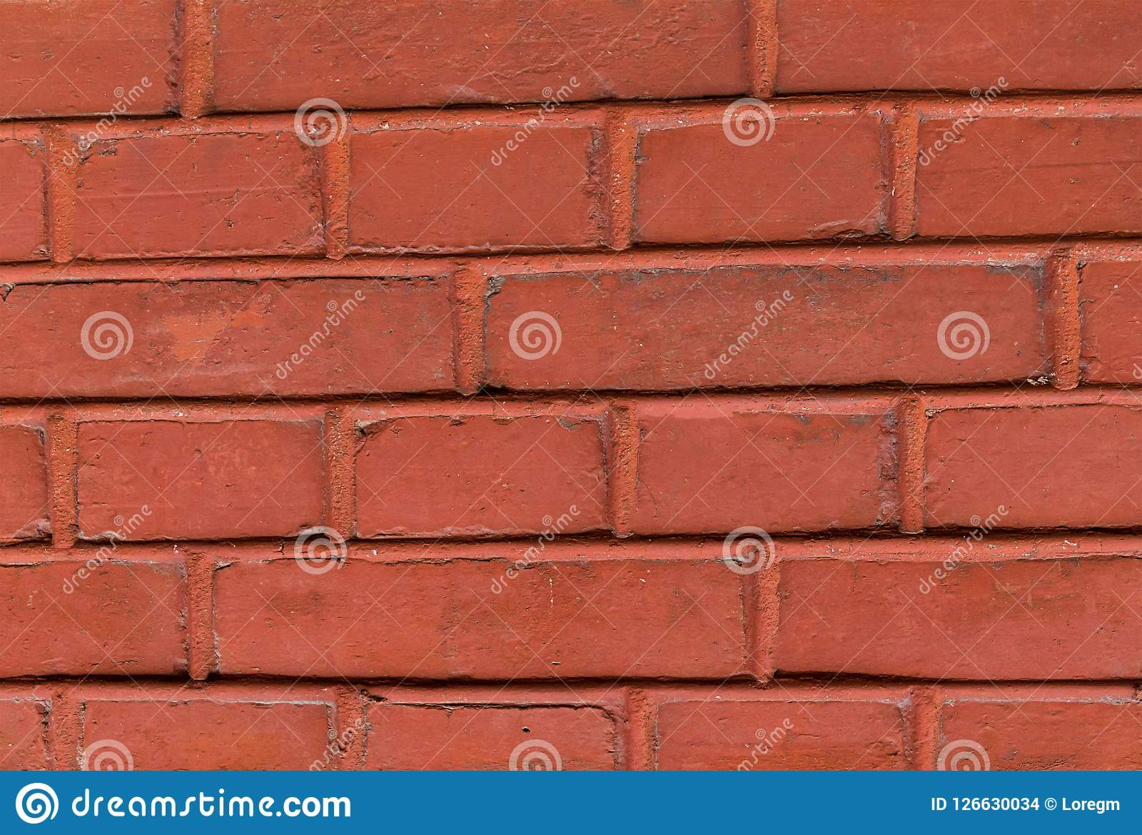 Pattern Brick Wall Rectangular Stone Painted Red Terracotta Color