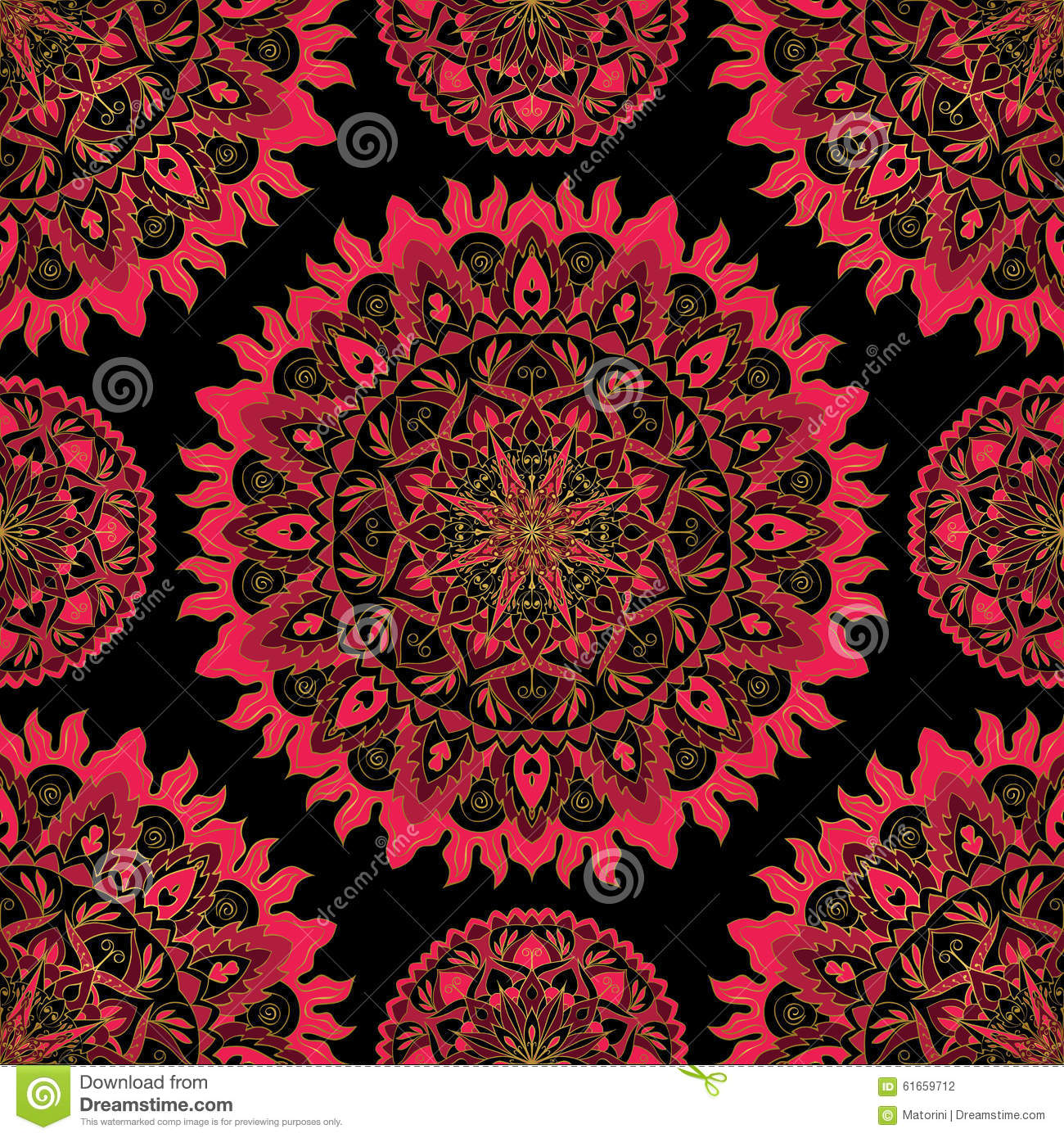 Pattern Of Bright Pink Mandala Stock Vector Image 61659712