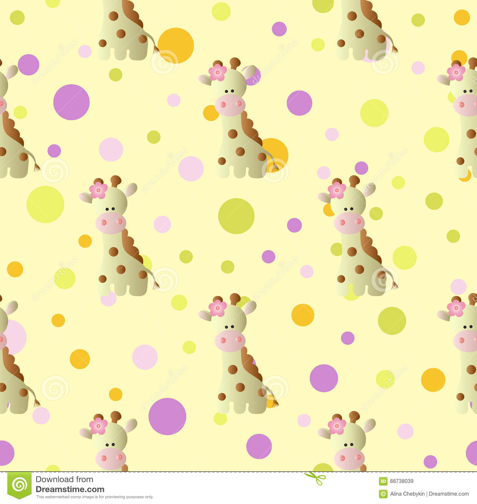 Pattern With Cartoon Cute Baby Giraffe And Circles Stock