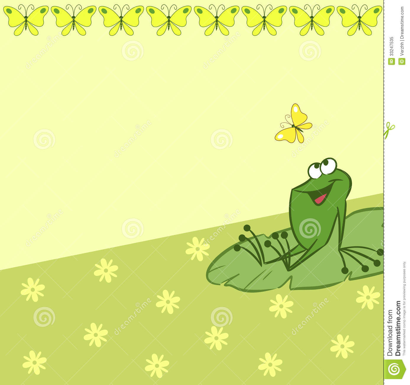 Pattern with cartoon frog and butterfly stock vector - Frog cartoon wallpaper ...