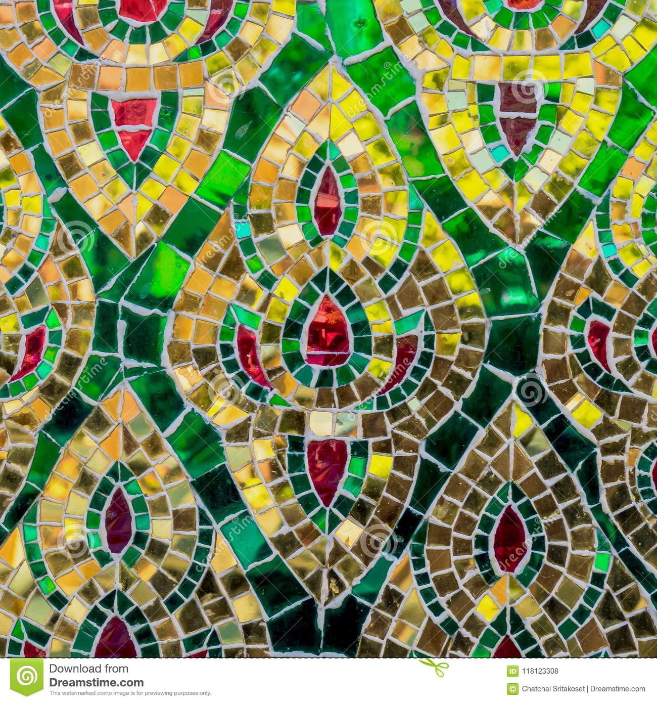 Pattern Of Collorfull Glass And Mirror On Old Wall Stock Photo