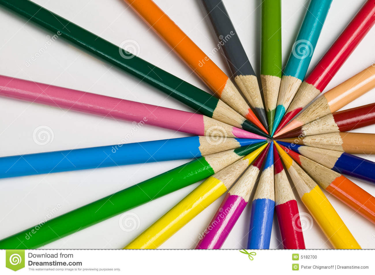 pattern of colored pencil crayons stock photo