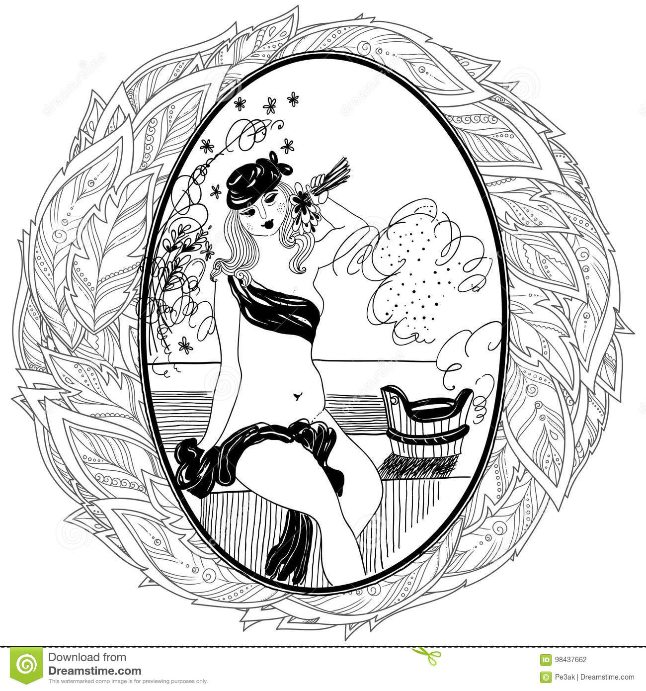 Pattern For Coloring Book Adult Vintage Girl In Bathroom Stock