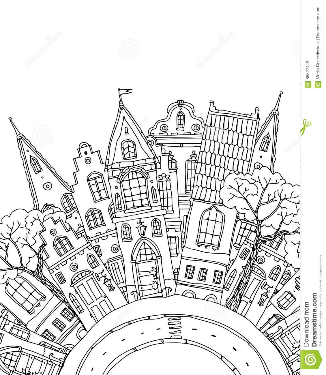 Pattern for coloring book with artistically house magic Coloring book album download