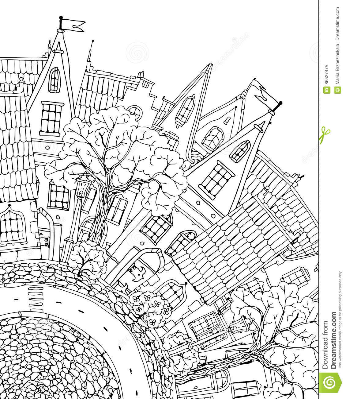 Pattern For Coloring Book With Artistically House Magic
