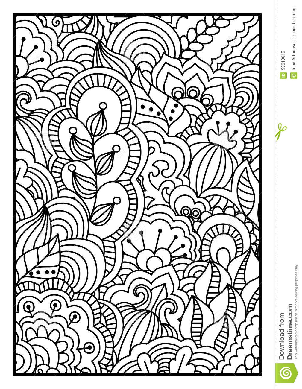 Pattern For Coloring Book. Black And White Background With ...  Pattern For Col...