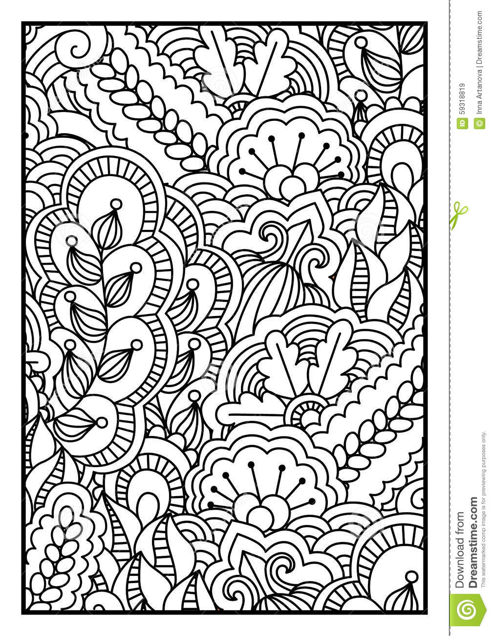 Pattern For Coloring Book. Black And White Background With Floral ...