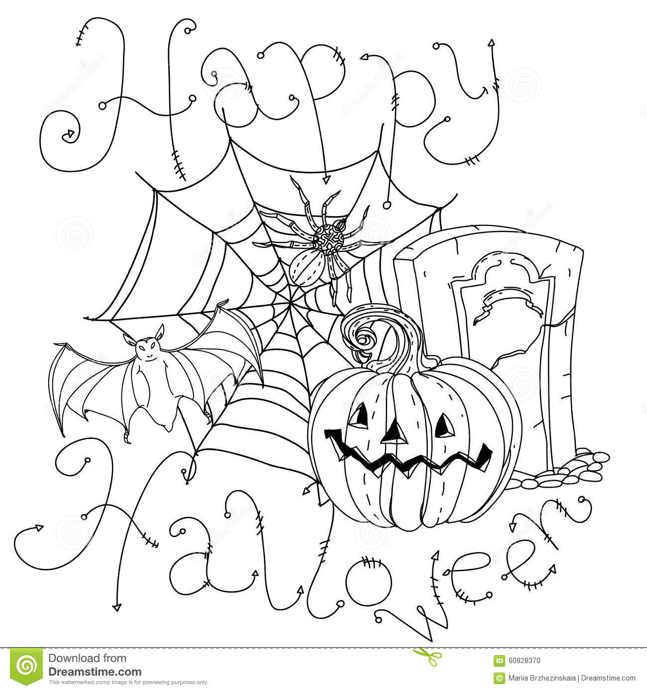Halloween Happy coloring banner pictures