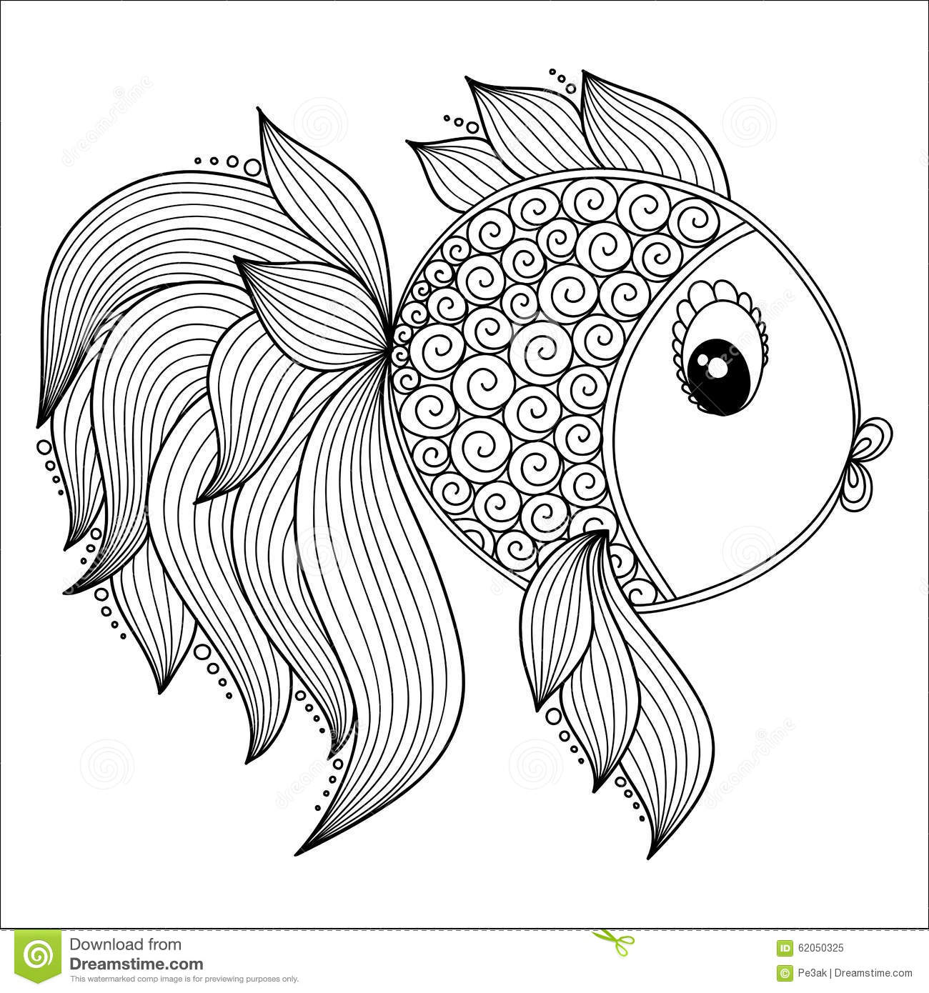 Coloring Animals With Patterns : Pattern for coloring book cute cartoon fish stock vector