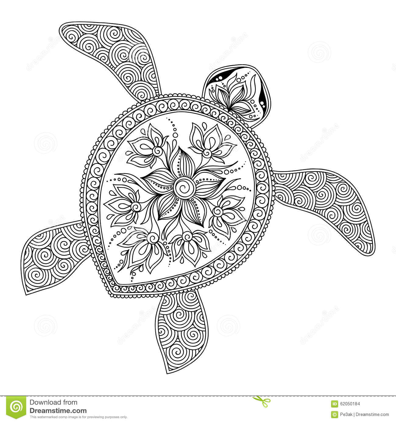 Pattern for coloring book decorative graphic turtle for Henna coloring pages
