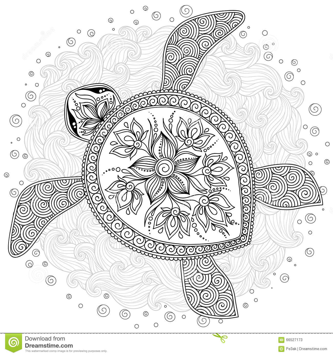 pattern for coloring book decorative graphic turtle stock vector