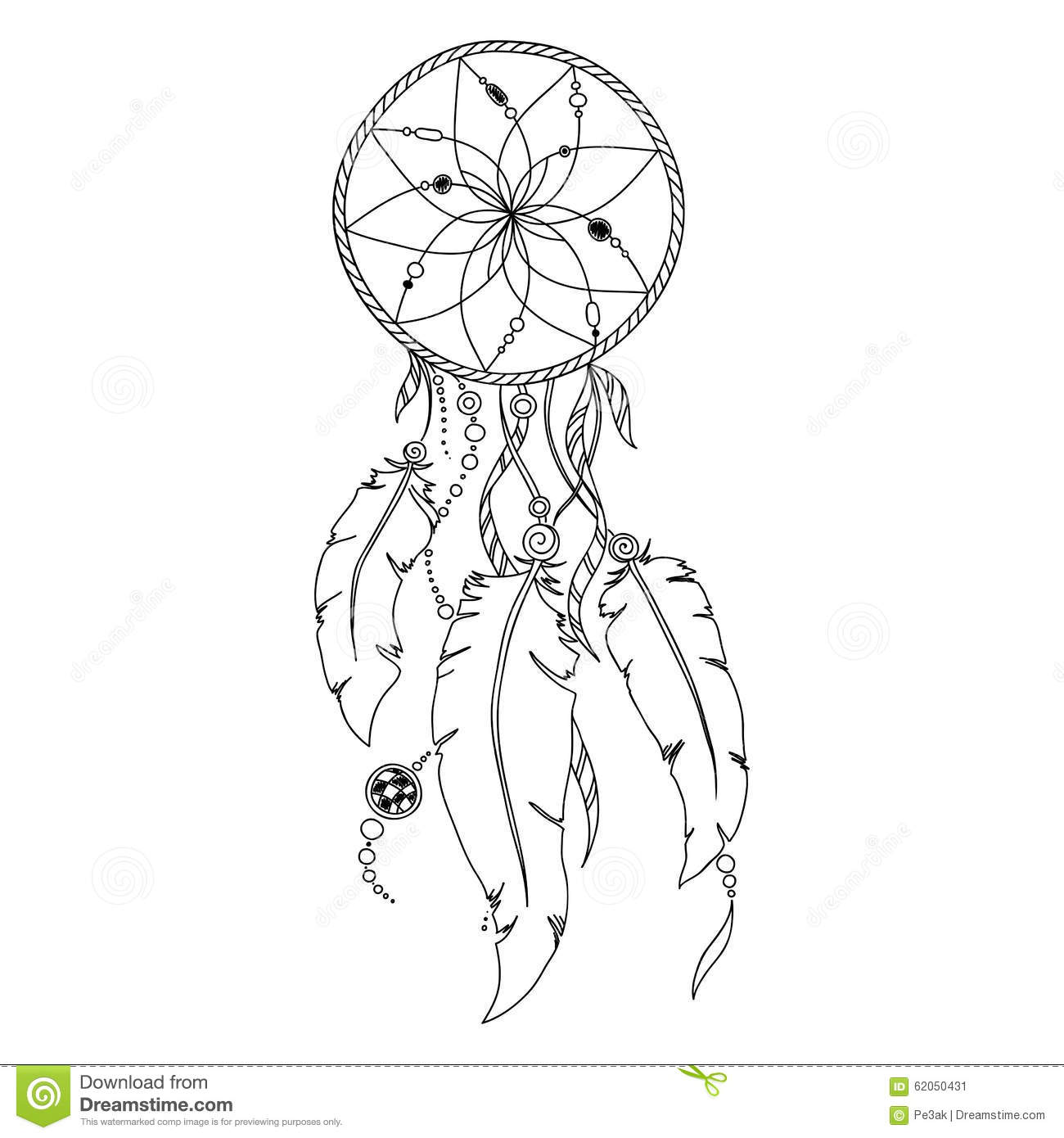 Boho dream catcher coloring page coloring pages for Dreamcatcher tattoo template