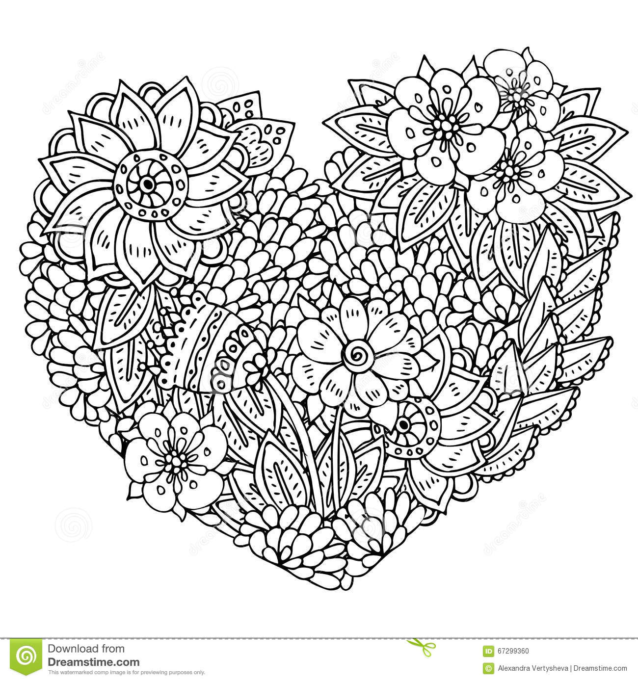 Line Art Heart Shape : Pattern for coloring book ethnic retro design stock