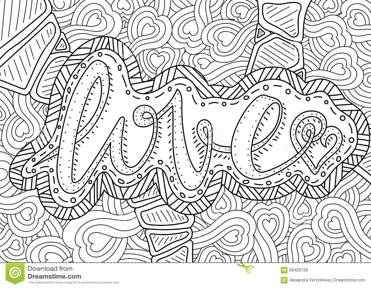 Vector Romantic Pattern With Text Love And Hearts On Background Coloring Book Page For Adult A4 Format