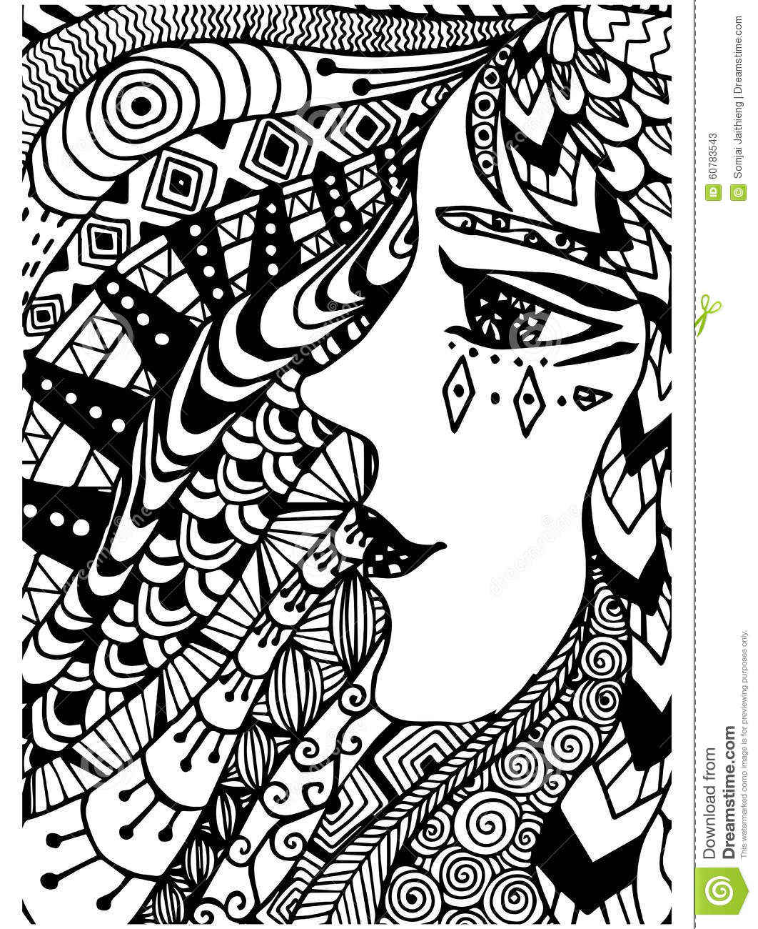 Pattern For Coloring Book Ethnicwoman Retro Doodle