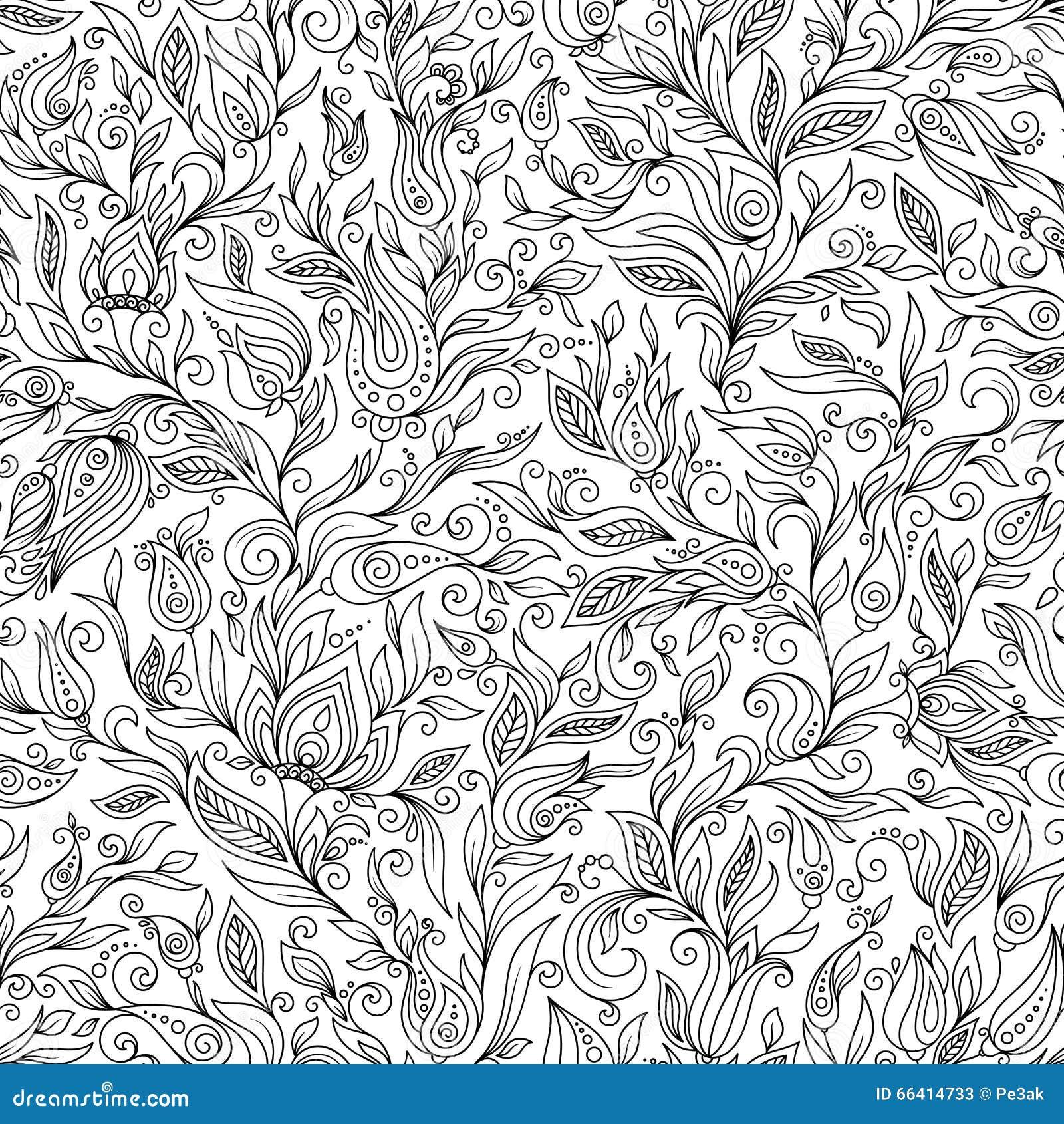 Download Pattern For Coloring Book Floral Doodle Design Element Stock Illustration