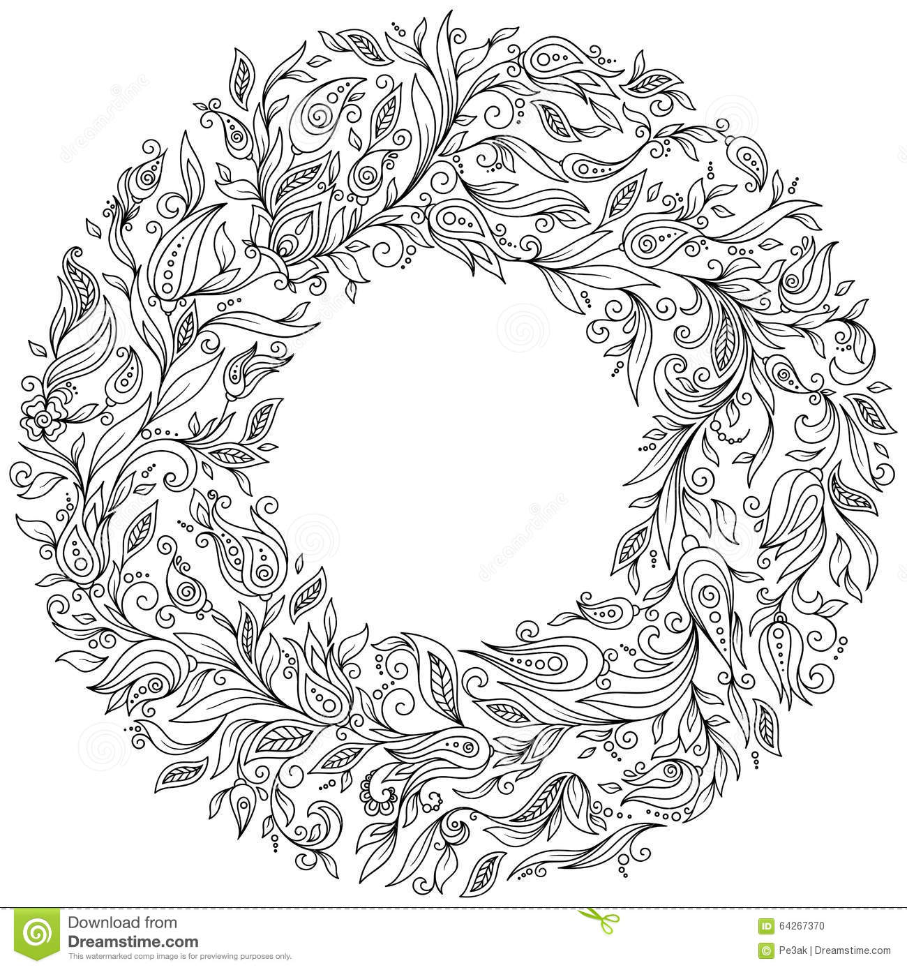 Adult Coloring Pattern Ethnic Floral Retro Doodle