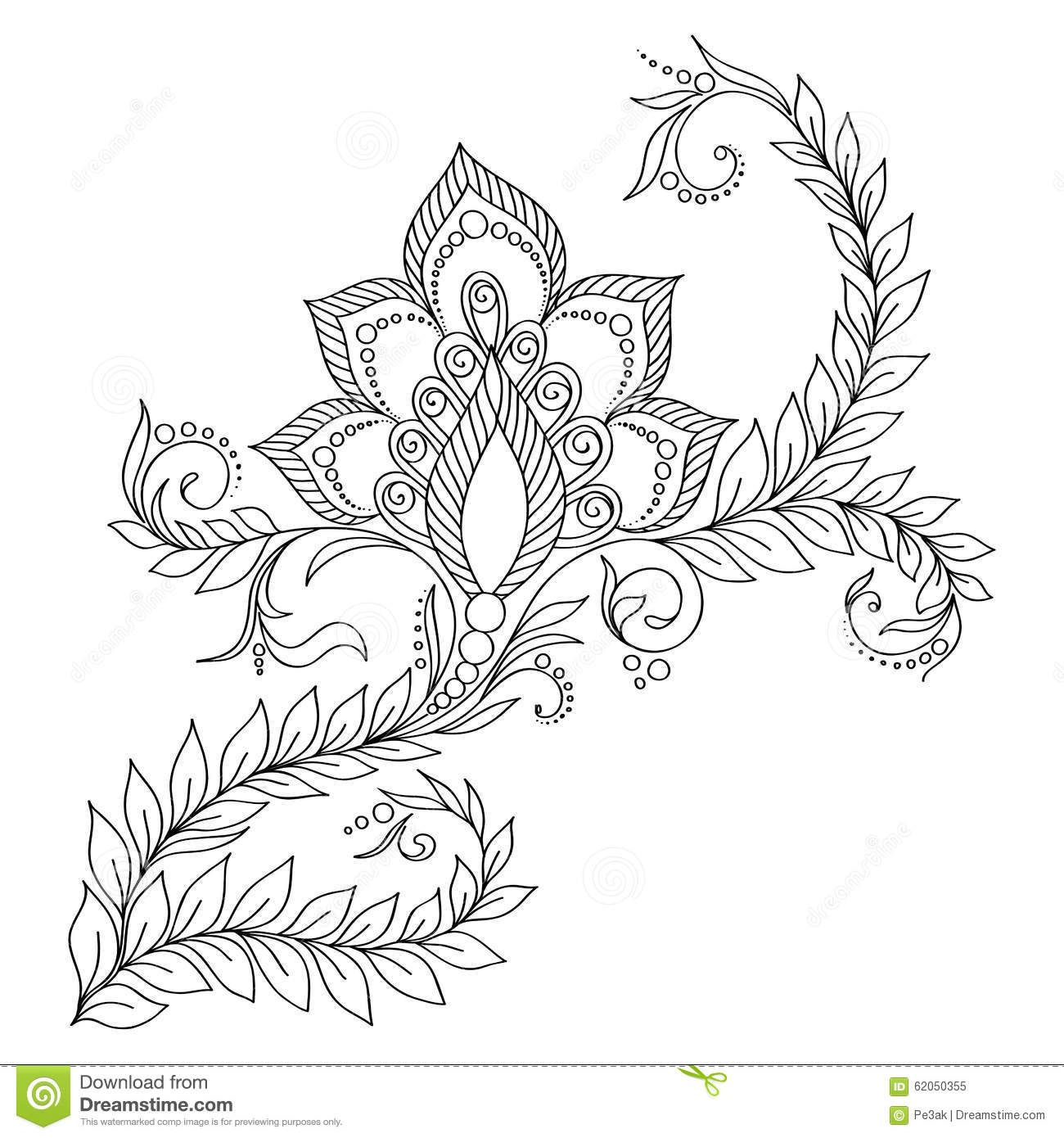Pattern For Coloring Book Pages Kids And AdultsVector Abstract Floral Elements In Indian Style Henna Mehndi Tattoo Doodles
