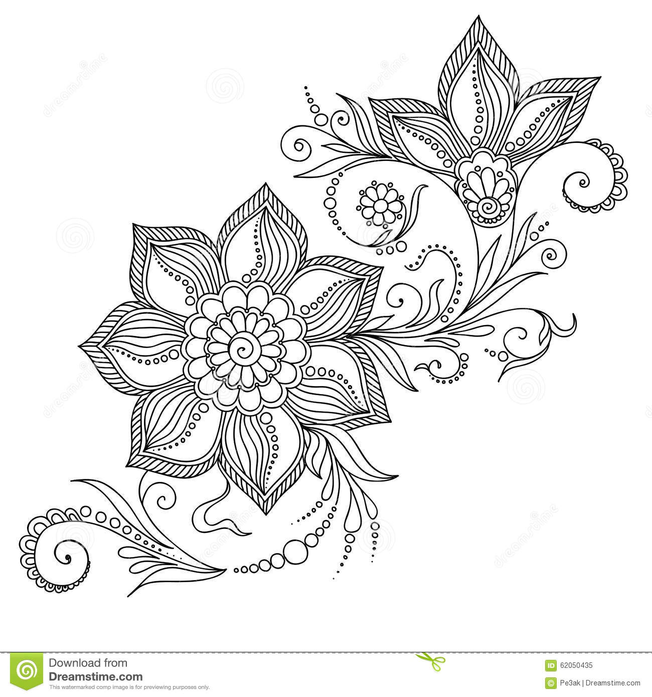 Pattern for coloring book floral elements in indian style for Henna coloring pages