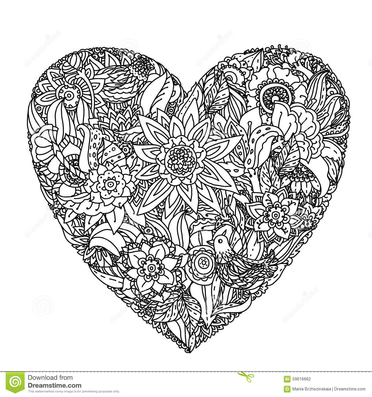 Flowers In Heart Shape On A Pot Line Art Design For Coloring Book