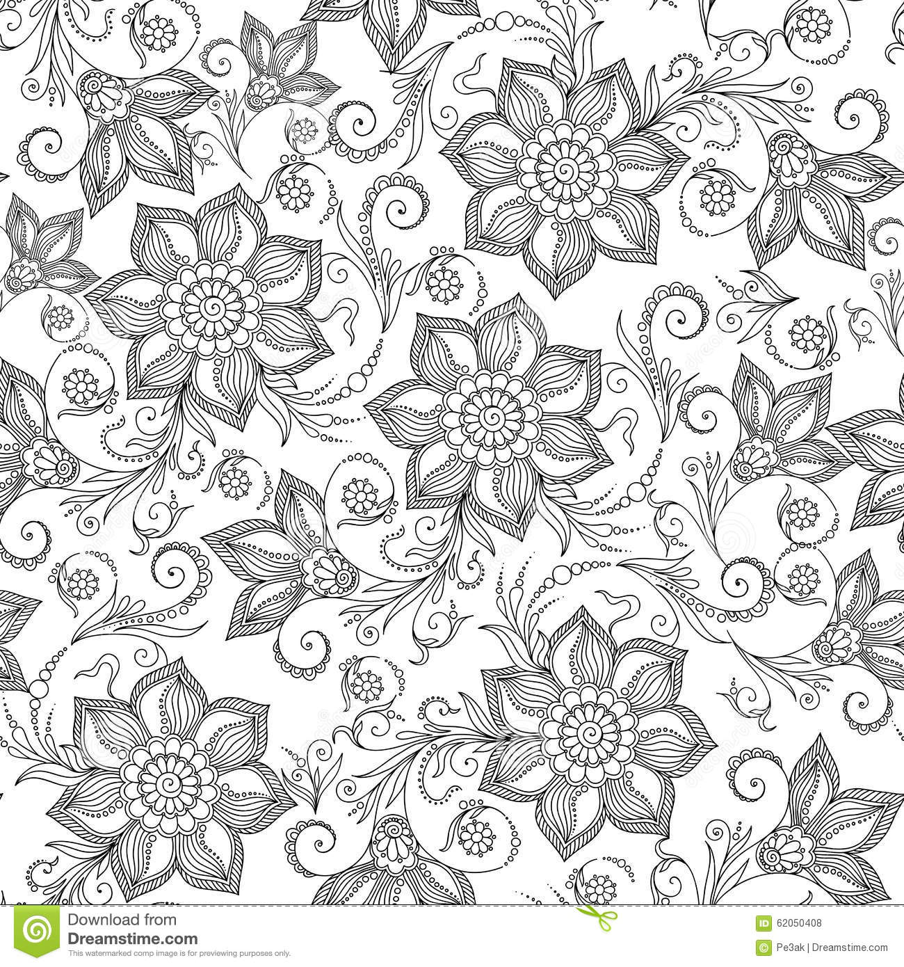 pattern for coloring book henna mehendy tattoo doodles seamless