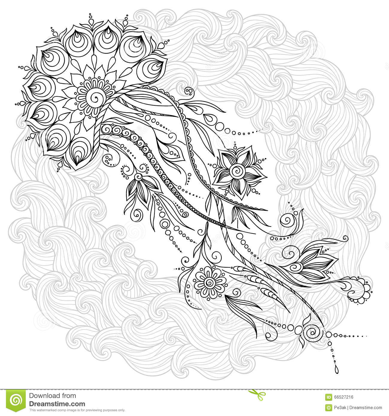 pattern for coloring book jellyfish in vector stock vector