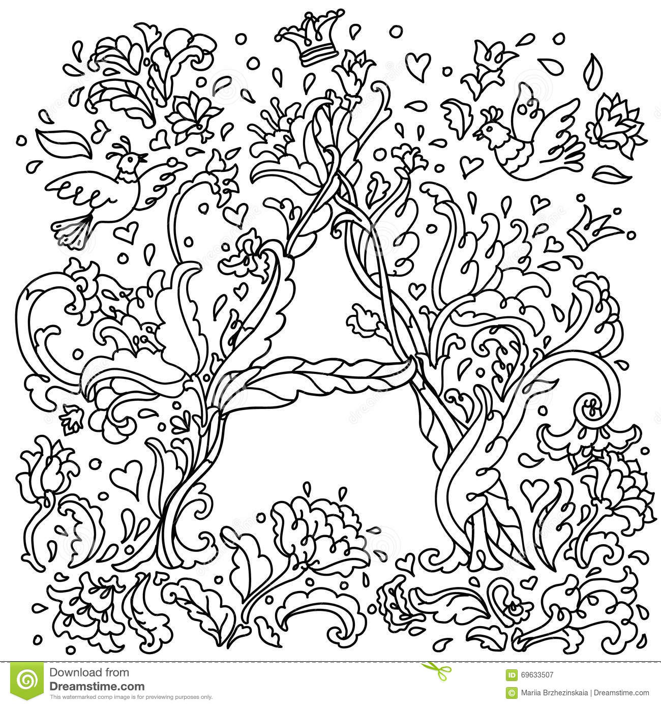Pattern For Coloring Book Letter A Stock Vector