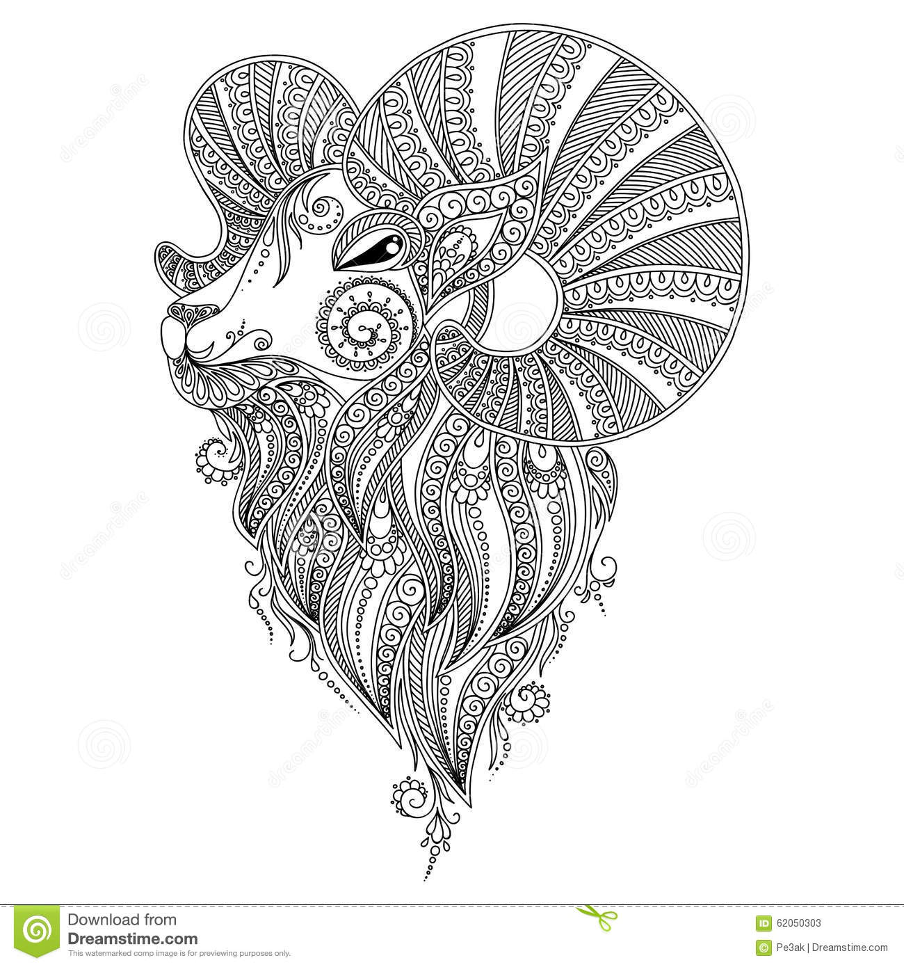 Pattern For Coloring Book Rams Head Stock Vector