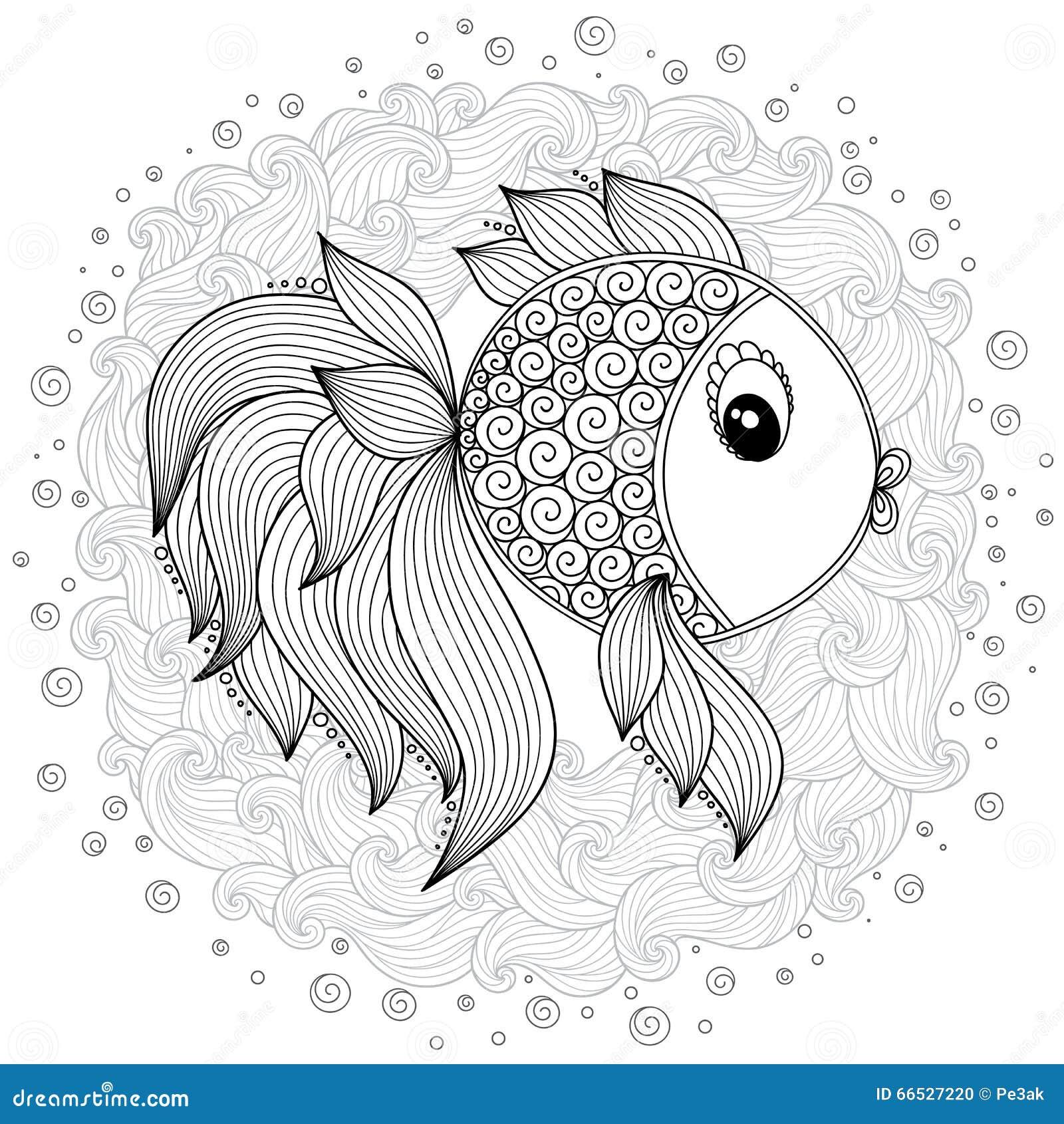 Kleurplaat Carousel Pattern For Coloring Book Vector Cute Cartoon Fish Stock