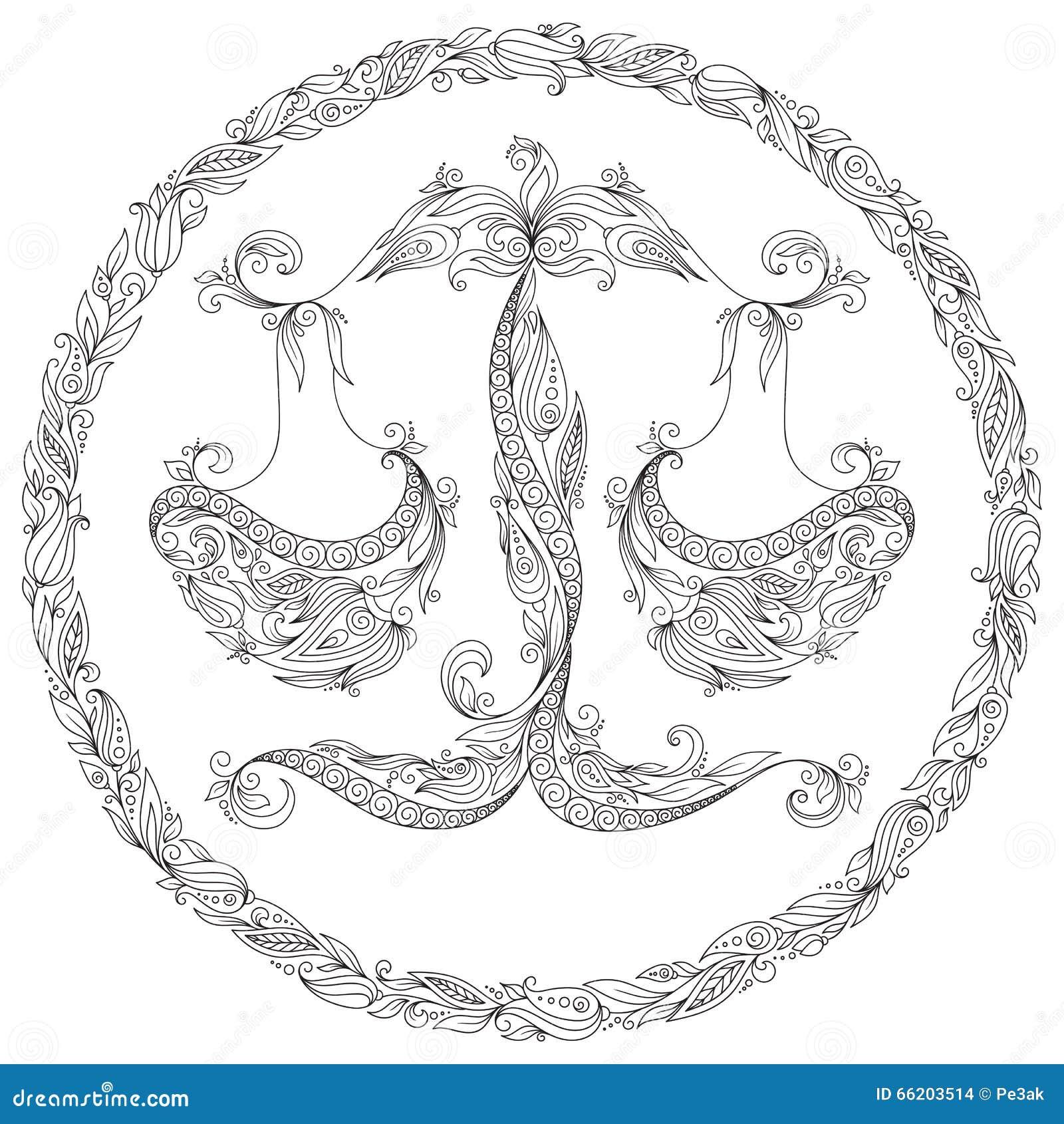 Zodiac Line Art : Pattern for coloring book zodiac libra stock